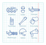 Vector thin line icons set for military infographics, mobile gam Royalty Free Stock Image