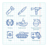 Vector thin line icons set for military infographics, mobile UX Stock Photography