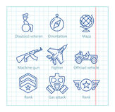 Vector thin line icons set for military infographics and UX/UI Stock Photo