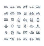 Vector thin line icons set with public transport, cars outline symbols. Vector thin line icons set and graphic design elements. Illustration with public Stock Photography