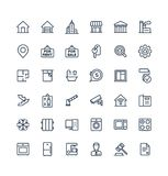 Vector thin line icons set with real estate outline symbols. Vector thin line icons set, graphic design elements. Illustration with real estate outline symbols Stock Images