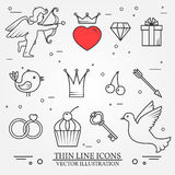 Vector thin line icons set for Saint Valentine's day and love th Royalty Free Stock Images