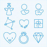 Vector thin line icons set for Saint Valentine's day Stock Photos