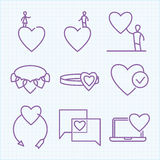 Vector thin line icons set for Saint Valentine's day Royalty Free Stock Images