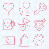 Vector thin line icons set for Saint Valentine's day Stock Photo