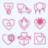 Vector thin line icons set for Saint Valentine's day Stock Photography