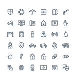 Vector thin line icons set with security, cyber safety outline symbols. Vector thin line icons set, graphic design elements. Illustration with security, cyber Royalty Free Stock Image