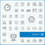 Vector thin line icons set. Sport Royalty Free Stock Photos