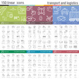 Vector thin line icons set for transportation Stock Images