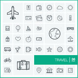 Vector thin line icons set. Travel Royalty Free Stock Image