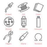 Vector thin line icons set with vaping accessories and equipment. For infographics and UX UI kit Royalty Free Stock Images