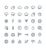 Vector thin line icons set with weather and meteo outline symbols. Royalty Free Stock Photo