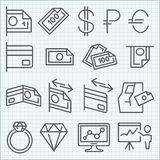Vector thin line icons set Royalty Free Stock Photo