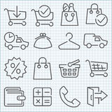 Vector thin line icons set Stock Photo