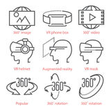 Vector Thin Line Icons Set With 360 Degree View Icons, Virtual Reality Equipment And Accessories For Infographics And UX Stock Photo