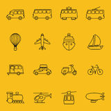 Vector thin line icons of transport Royalty Free Stock Images