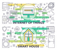 Vector thin line Internet of things and Smart House banners. Vector set of Internet of things and Smart House concept banners. Modern thin line flat design Royalty Free Stock Images