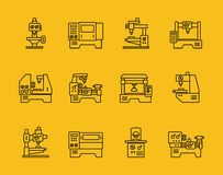 Vector thin line machine tool icons Stock Image