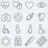Vector thin line medicine icons set Royalty Free Stock Photos