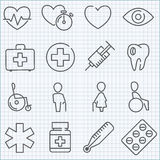 Vector thin line medicine icons set. Ror infographics and applications Stock Photography