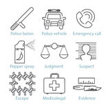 Vector thin line police icons for infographics and games UX/UI Royalty Free Stock Images