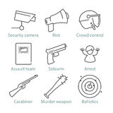 Vector thin line police icons for infographics and games UX/UI Stock Image