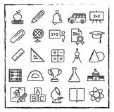 Vector thin line school, education and science icons set Royalty Free Stock Image