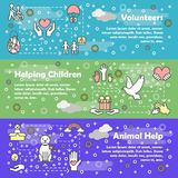 Vector thin line style design volunteer banner set Stock Images