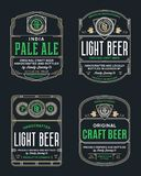 Vector thin line vintage beer labels. Vector vintage beer thin line labels and packaging design templates. Brewing company branding and identity design elements vector illustration