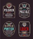 Vector thin line vintage beer labels. Vector vintage beer thin line labels and packaging design templates. Pilsner,.porter, pale ale and lager labels. Brewing royalty free illustration