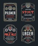 Vector thin line vintage beer labels. Vector vintage beer thin line labels and packaging design templates. Pilsner,.stout, pale ale and lager labels. Brewing royalty free illustration