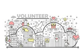 Vector thin line volunteer poster banner template Stock Image