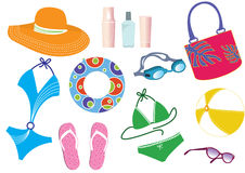 Vector things for summer holiday Stock Images