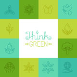 Vector think green concept in linear style Royalty Free Stock Photography