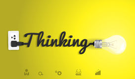 Vector thinking concept with creative light bulb i royalty free illustration