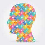 Vector thinking head Royalty Free Stock Images
