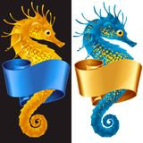 Vector Thorny Seahorse. Is Wrapped in Swirl Ribbon. Set of Hippocampus and Banner Frame Isolated on Background. Colorful Horse Fish Icon for Beach Party, Sea Stock Image