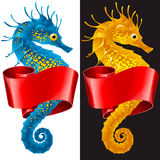 Vector Thorny Seahorse is Wrapped in Swirl Ribbon Royalty Free Stock Photo
