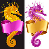 Vector Thorny Seahorse is Wrapped in Swirl Ribbon Royalty Free Stock Photography