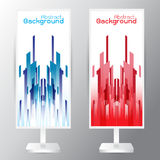 Vector of three banners abstract headers with blue red recta Stock Images