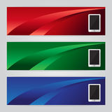 Vector of three banners phone abstract headers with colorful. Vector set of three banners phone abstract headers with colorful red green blue Stock Image
