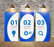 Vector three blank posters on old brick wall. Three blank posters on old brick wall, With blue corporate identity template with digital elements, Vector Royalty Free Stock Photography