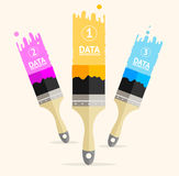 Vector three colorful brushes option banner Royalty Free Stock Photo