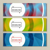 Vector three colorful pictures with bright circles Royalty Free Stock Images