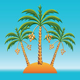 vector Three date palm on an island in the ocean Royalty Free Stock Photography