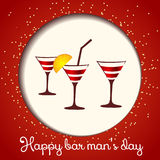 Vector three glasses on a red background. Card bartenders Day. Vector three glasses on a red background stock illustration