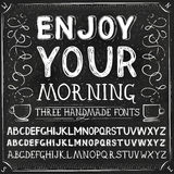 Vector Three Hand Drawn Fonts Royalty Free Stock Photography