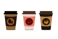 Vector Three Paper Cup Set Stock Photography