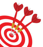 Vector Three red Darts in the same target Stock Images