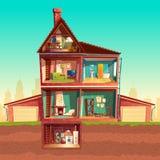 Vector cartoon multistorey house in cross section. Vector three-story house interior in cross section with basement and garage. Cartoon multistorey private vector illustration